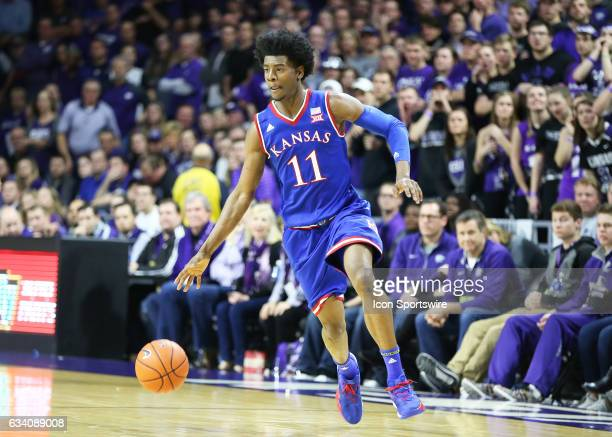 Kansas Jayhawks guard Josh Jackson drives in the second half of the Big 12 showdown between the Kansas Jayhawks and Kansas State Wildcats on February...