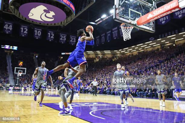 Kansas Jayhawks guard Josh Jackson goes high driving to the basket in the second half of the Big 12 showdown between the Kansas Jayhawks and Kansas...