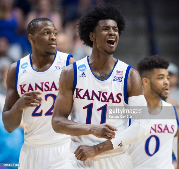 Kansas Jayhawks guard Josh Jackson reacts to a foul call in the second half against Michigan State during a second round NCAA men's basketball...
