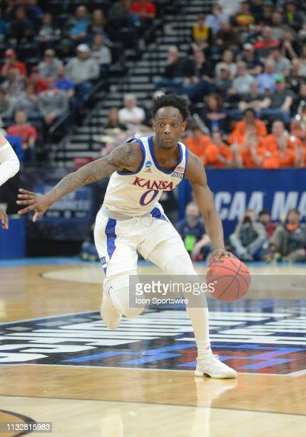 Kansas Jayhawks guard Marcus Garrett during a game between the Auburn Tigers and the Kansas Jayhawks on March 23 2019 at Vivint Smart Smart Home...