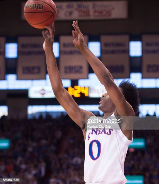 Kansas Jayhawks guard Marcus Garrett takes a shot from beyond the arc in the first half against Arizona State University on Sunday Dec 10 2017 at the...