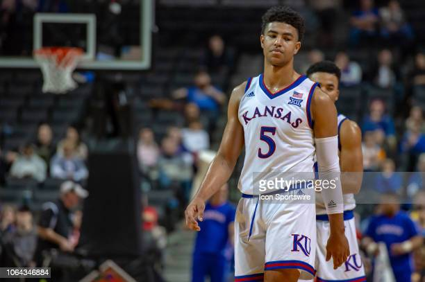 Kansas Jayhawks guard Quentin Grimes during the NIT Season TipOff college basketball game between the Marquette Golden Eagles and Kansas Jayhawks on...
