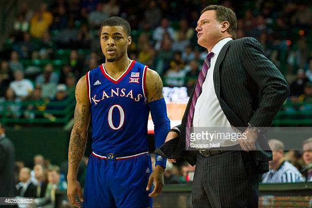 Kansas Jayhawks head coach Bill Self looks on with Frank Mason III against the Baylor Bears on January 7 2015 at the Ferrell Center in Waco Texas
