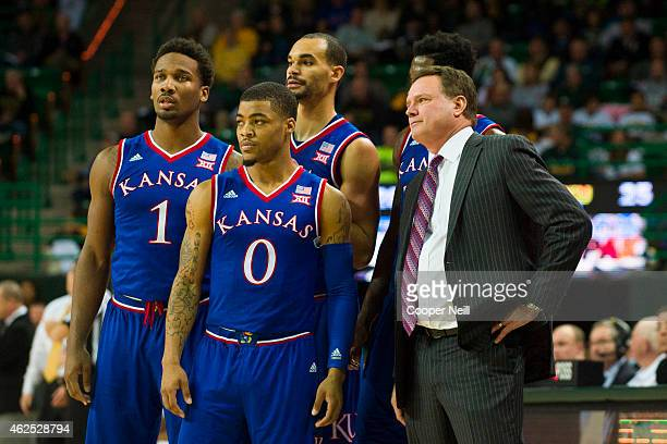 Kansas Jayhawks head coach Bill Self looks on with his team against the Baylor Bears on January 7 2015 at the Ferrell Center in Waco Texas