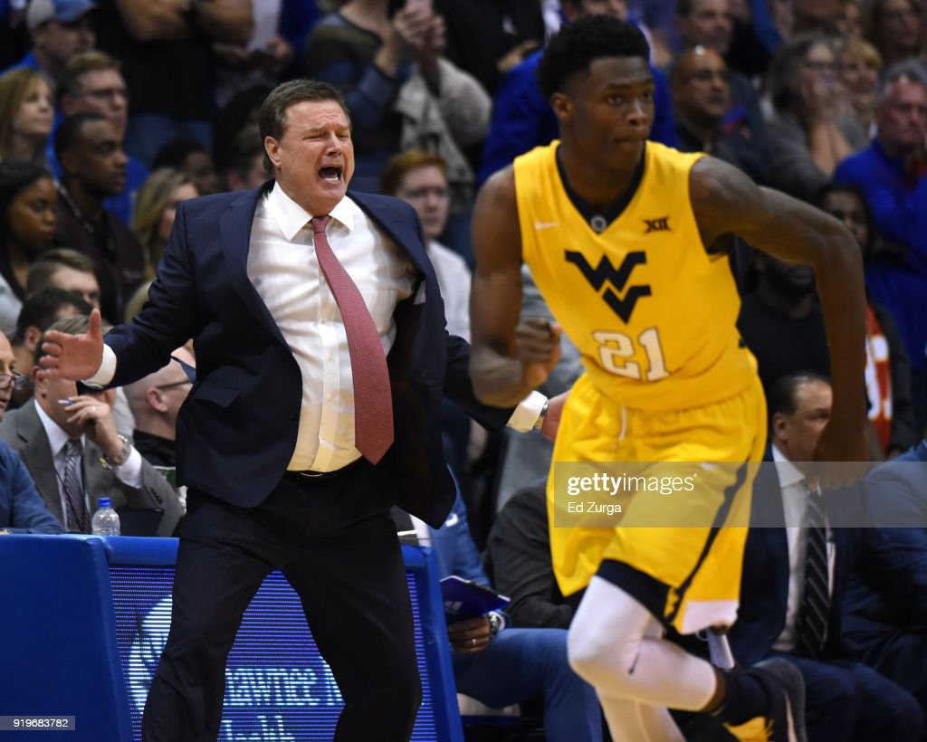 Kansas Jayhawks head coach Bill Self of the Kansas Jayhawks cheers on his team during a game against the West Virginia Mountaineers at Allen Fieldhouse on February 17, 2018 in Lawrence, Kansas.