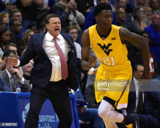 Kansas Jayhawks head coach Bill Self of the Kansas Jayhawks cheers on his team during a game against the West Virginia Mountaineers at Allen...
