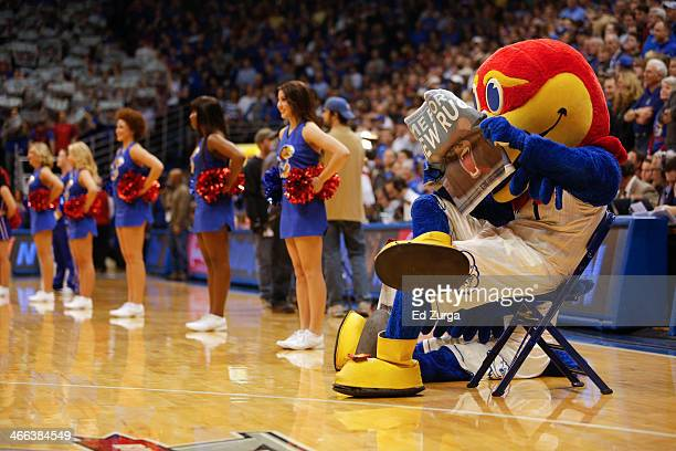 Kansas Jayhawks' mascot and cheerleaders perform during a game against the Baylor Bears at Allen Fieldhouse on January 20 2014 in Lawrence Kansas