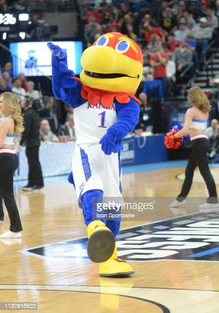 Kansas mascot Big Jay during a game between the Auburn Tigers and the Kansas Jayhawks on March 23 2019 at Vivint Smart Smart Home Arena in Salt Lake...