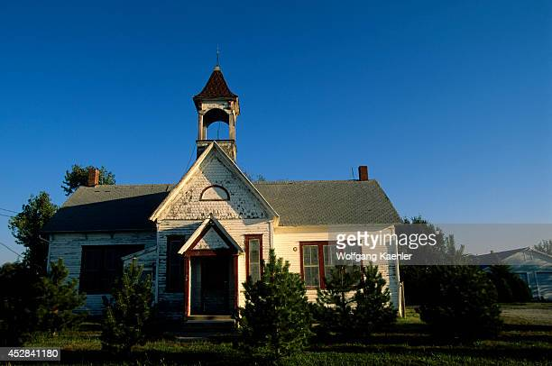 USA Kansas Near Canton Old Church Along Highway 150