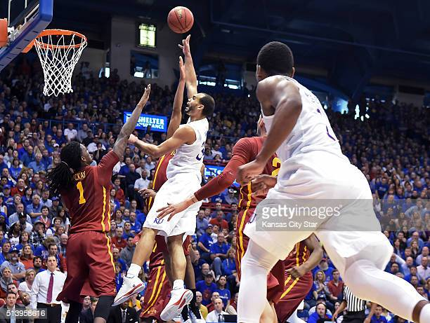Kansas' Perry Ellis shoots over Iowa State's Jameel McCay during the first half on Saturday March 5 at Allen Fieldhouse in Lawrence Kan KU won 8578