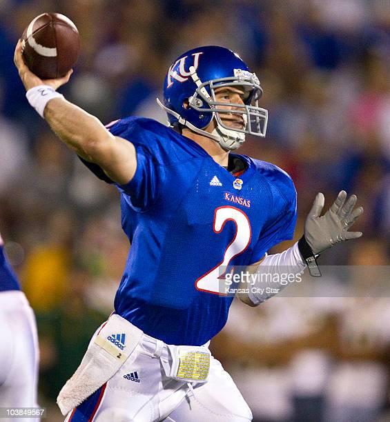 Kansas quarterback Jordan Webb throws against North Dakota State at Memorial Stadium in Lawrence Kansas on Saturday September 4 2010 North Dakota...