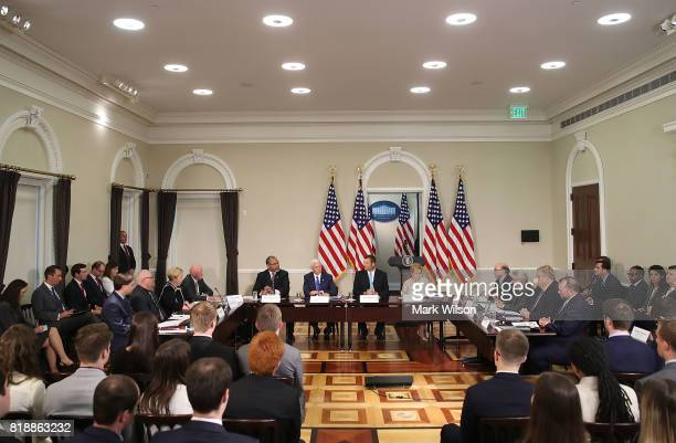 Kansas Secretary of State Kris Kobach and US Vice President Mike Pence attend the first meeting of the Presidential Advisory Commission on Election...
