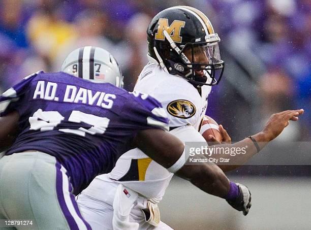 Kansas State defensive end Adam Davis pressures Missouri quarterback James Franklin in the second quarter at Bill Snyder Family Stadium on Saturday...