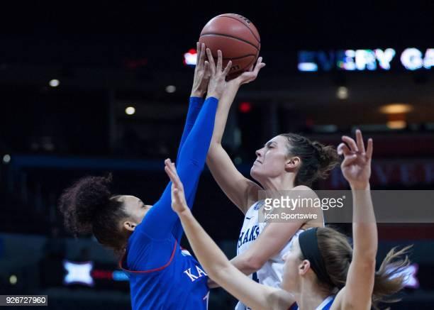 Kansas State Kaylee Page getting the shot blocked by Kansas Briana Osorio during the Kansas Jayhawks Big 12 Women's Championship game versus the...