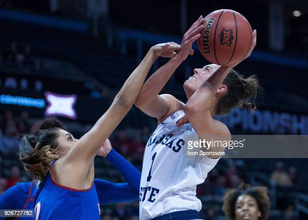 Kansas State Kaylee Page going up for two points during the Kansas Jayhawks Big 12 Women's Championship game versus the Kansas State Wildcats on...