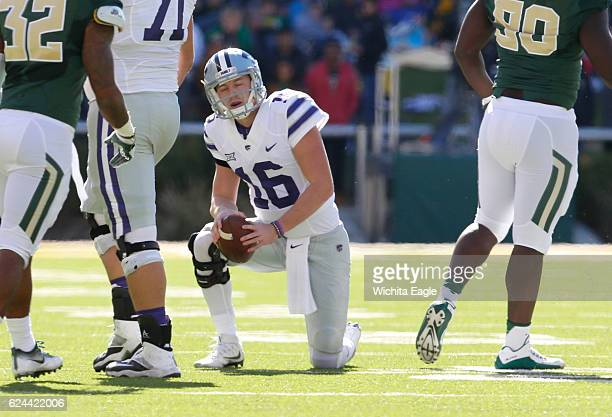 Kansas State quarterback Jesse Ertz catches his breath after being sacked on third down against Baylor at McLane Stadium in Waco Texas on Saturday...