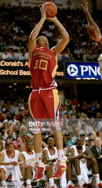 Kansas State recruit Michael Beasley shoots a jumper during action in the McDonald's All American High School Basketball Team games at Freedom Hall...