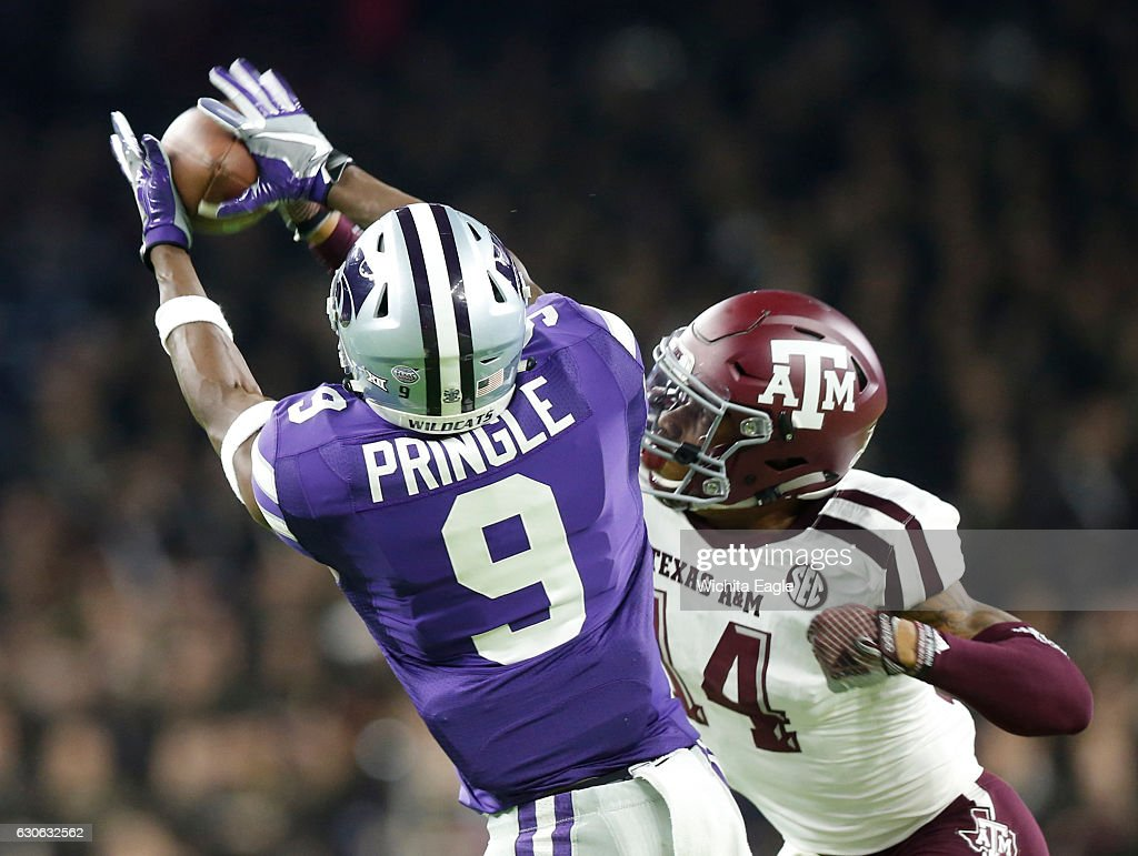 new product 11144 dadc9 Kansas State wide receiver Byron Pringle can't hang onto a ...