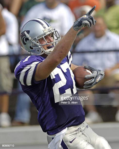 Kansas State wide receiver Jordy Nelson celebrates after scoring on a 40-yard touchdown pass play in the second quarter against North Texas. Kansas...
