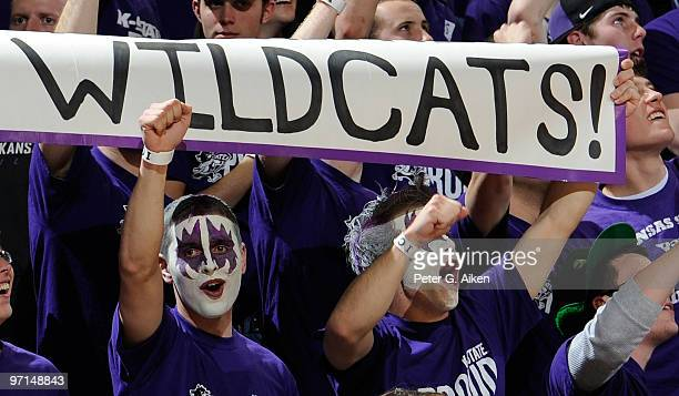Kansas State Wildcat fans cheer on their Wildcats during a game against the Missouri Tigers on February 27, 2010 at Bramlage Coliseum in Manhattan,...