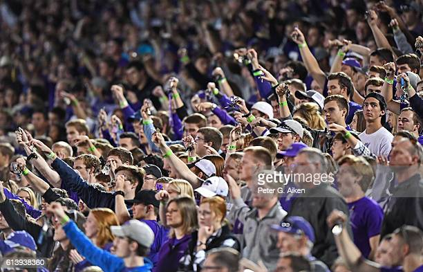 Kansas State Wildcats fans wave keys in the air during a kickoff against the Texas Tech Red Raiders during the second half on October 8 2016 at Bill...
