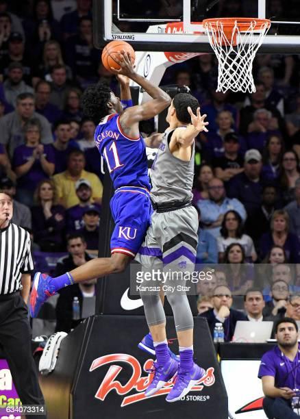Kansas State Wildcats forward Isaiah Maurice fouls Kansas Jayhawks guard Josh Jackson in the first half on Monday, Feb. 6, 2017 at Bramlage Coliseum...