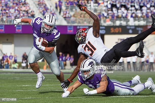 Kansas State Wildcats fullback Winston Dimel during the Big 12 Division 1 game between the Oklahoma State Cowboys and the Kansas State Wildcats on...