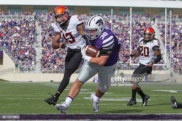 Kansas State Wildcats fullback Winston Dimel scores a touchdown during the Big 12 Division 1 game between the Oklahoma State Cowboys and the Kansas...