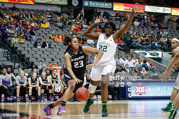 Kansas State Wildcats guard Ashia Woods drives the baseline around Baylor Bears forward/center Sune Agbuke during the NCAA Big 12 Women's basketball...