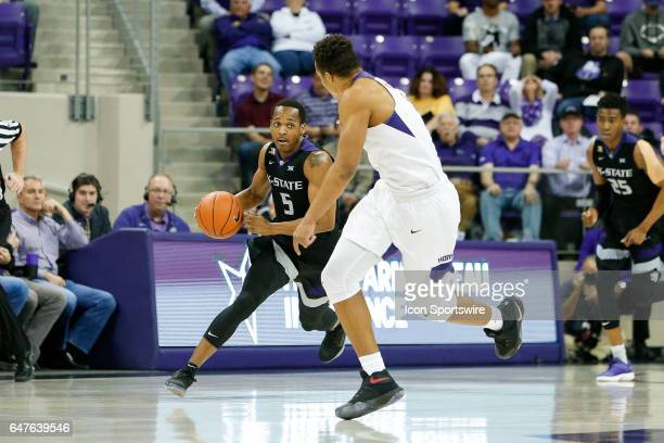 Kansas State Wildcats guard Barry Brown brings the ball up the court during the basketball game between Kansas State Wildcats and TCU Horned Frogs on...