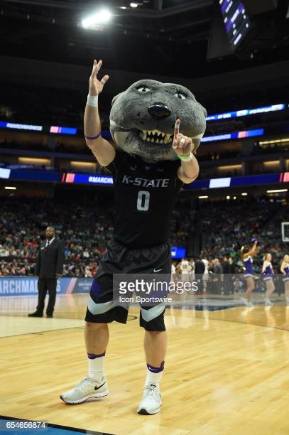 Kansas State Wildcats mascot performs during the first half of the Cincinnati Bearcats game versus the Kansas State Wildcats in their NCAA Division I...