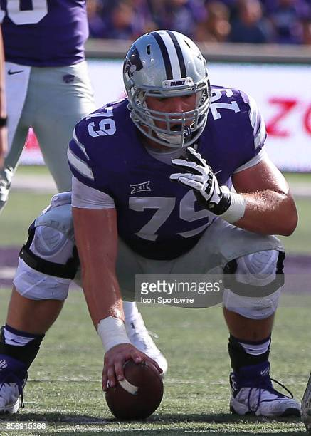 Kansas State Wildcats offensive lineman Adam Holtorf before the snap in the first half of a Big 12 game between the Baylor Bears and Kansas State...