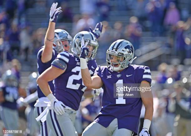 Kansas State Wildcats players celebrate after blocking a punt for the third straight game during the first half against the Texas Tech Red Raiders at...