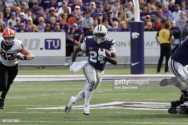 Kansas State Wildcats running back Charles Jones looks for room to run during the Oklahoma State Cowboys game versus the Kansas State Wildcats on...
