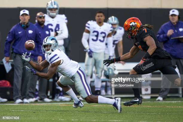 Kansas State Wildcats wide receiver Dominique Heath reaches for a reception during the Big 12 college football game between the Kansas State Wildcats...