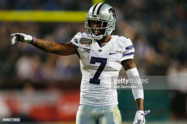 Kansas State Wildcats wide receiver Isaiah Zuber smiles during the Cactus Bowl college football game between the Kansas State Wildcats and the UCLA...