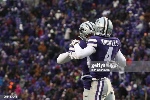 Kansas State Wildcats wide receiver Malik Knowles leaps in celebration after an 8yard touchdown reception late in the second quarter of a Big 12...