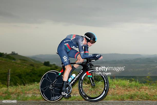 Kanstantsin Siutsou of Belarus and Team SKY in action during the twelfth stage of the 2014 Giro d'Italia a 42km Individual Time Trial stage between...