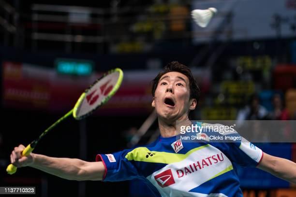 Kanta Tsuneyama from Japan during the Badminton Asia Mixed Team Championships 2019 Tong Yun Kai Cup semi finals at the Queen Elizabeth Stadium Arena...