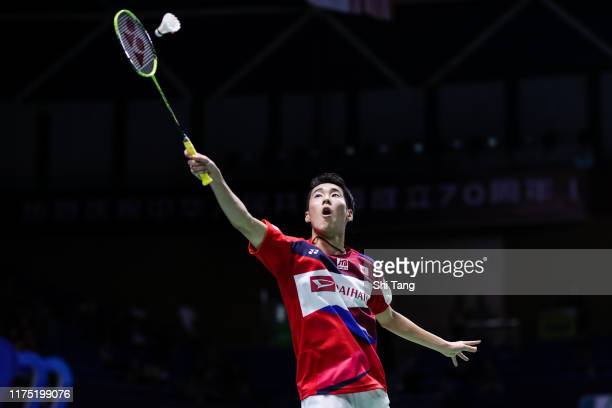 Kanta Tsuneyama of Japan competes in the Men's Singles first round match against Viktor Axelsen of Denmark on day one of the China Open at Olympic...