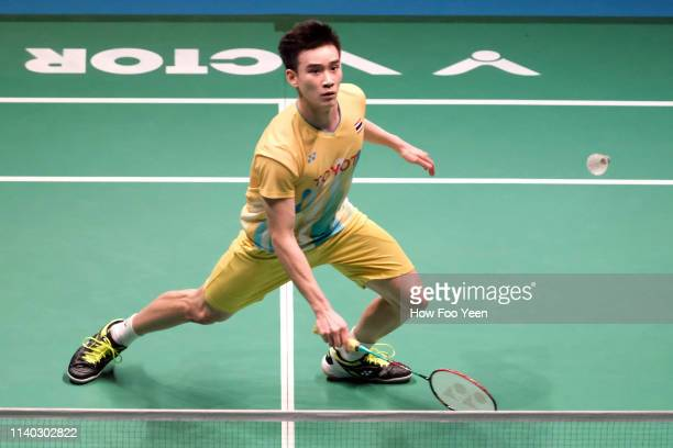 Kantaphon Wangcharoen of Thailand in action on day three of the Badminton Malaysia Open at Axiata Arena on April 04 2019 in Kuala Lumpur Malaysia
