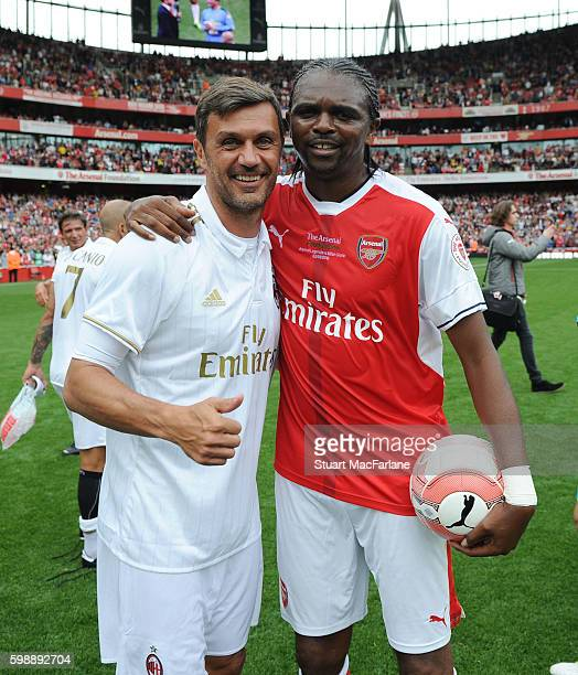 Kanu of Arsenal and Paolo Maldini of Milan after the friendly match between the Arsenal Legends and Milan Glorie at Emirates Stadium on September 3...