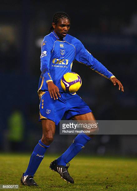 Kanu of Portsmouth controls the ball during the Barclays Premier League match between Portsmouth and Aston Villa at Fratton Park on January 27 2009...