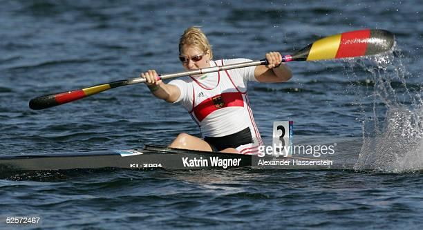Kanu Olympische Spiele Athen 2004 Athen Kanu Rennsport / Kajak K1 500m / Frauen Katrin WAGNER / GER 280804