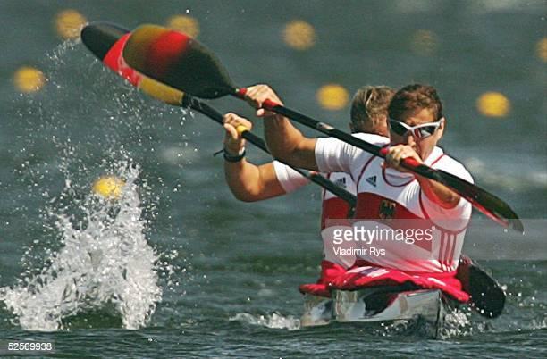 Kanu Olympische Spiele Athen 2004 Athen Kanu Rennsport / Kajak K2 500m / Frauen Birgit FISCHER und Carolin LEONHARDT / GER 240804