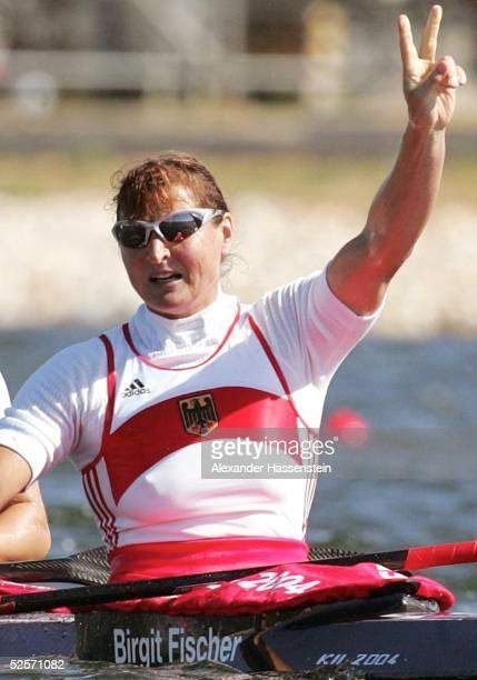 Kanu Olympische Spiele Athen 2004 Athen Kanu Rennsport / Kajak K2 500m / Frauen Silber Carolin LEONHARDT und Birgit FISCHER / GER 280804