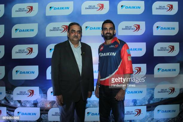Kanwal Jeet Jawa Managing Director of Indian Operations Daikin Industries Ltd with Cricketer Zaheer Khan at a party hosted by Daikin to celebrate the...