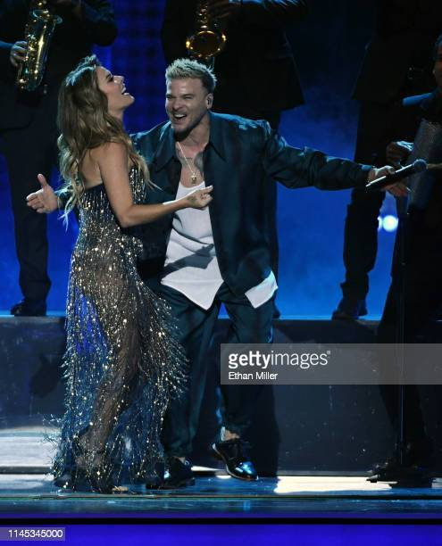 Kany Garcia and Pedro Capo perform during the 2019 Billboard Latin Music Awards at the Mandalay Bay Events Center on April 25 2019 in Las Vegas Nevada