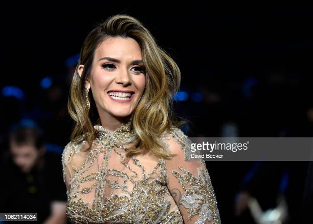Kany Garcia back stage during the 19th annual Latin GRAMMY Awards at MGM Grand Garden Arena on November 15 2018 in Las Vegas Nevada
