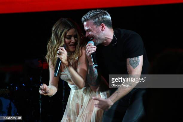 Kany Garcia perfoms with Pedro Capo during her concert Soy Yo at Coliseo Jose M Agrelot on February 2 2019 in San Juan Puerto Rico